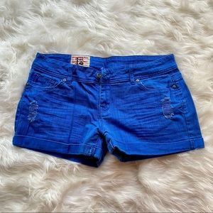 Bright Blue Jean Shorts Low Rise